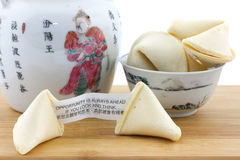 Chinese fortune cookies and teapot Royalty Free Stock Photography