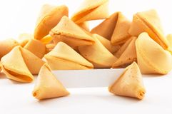 Chinese fortune cookies with white blank paper. Chinese fortune cookies, on white background, with a white piece of paper for entering own text/fortune, bigger Royalty Free Stock Photo