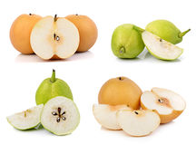 Chinese fragrant pear on white background Royalty Free Stock Photo