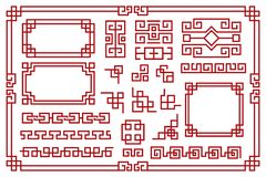 Chinese frames. Asian new year decorative square borders, red traditional oriental graphic patterns vintage art vector