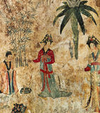 Chinese frescoe in the Liao grave of mont Bao, in Chifeng, Mongolia, China Stock Photography