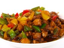 Chinese Fried Chicken. With peppers stock photography