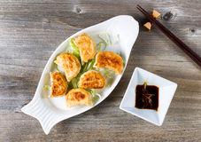 Chinese Fried Dumplings Dish With Dipping Sauce Ready To Eat Stock Photo