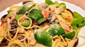 Fried noodle with green peppers Stock Image