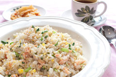 Chinese fried rice. With salmon, egg, cabbage, spinach and scallion Stock Images
