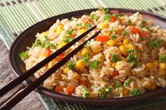 Chinese fried rice with eggs, corn and spices,  horizontal Royalty Free Stock Images