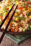 Chinese fried rice with eggs, corn and spices,  vertical Royalty Free Stock Photos