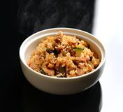 Chinese fried rice with vegetables, chicken. Healthy food homemade Chinese fried rice with vegetables, chicken and fried eggs served in deep plate hot Stock Images