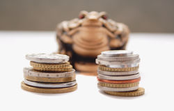 Chinese frog and coins Stock Image