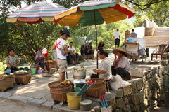 Chinese fruit market in a countryside Stock Image