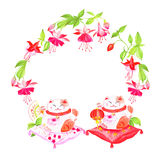 Chinese fuchsia and lucky cats sitting on pillows watercolor vec Stock Images