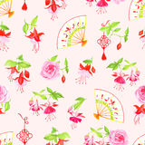 Chinese fuchsia, roses and fan seamless vector pattern Royalty Free Stock Photo