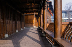 Chinese gallery in warm winter morning Royalty Free Stock Photography