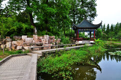 Chinese garden. A beautiful chinese garden by lake Stock Photography