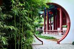 Chinese garden. Traditional chinese garden with bamboo Stock Photo