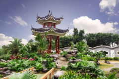 Chinese garden with classical pavilion Royalty Free Stock Images