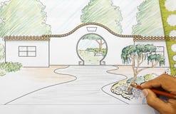 Chinese garden design plan Royalty Free Stock Photo