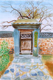 Chinese garden door watercolor painting. S Royalty Free Stock Photos