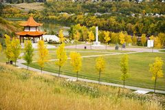 Chinese Garden Edmonton. A Chinese Garden located in Louise McKinney Riverfront Park to celebrate the contributions and cultural heritage of the Chinese people Royalty Free Stock Images