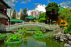 Chinese garden with footbridge Royalty Free Stock Photo