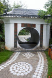 Chinese garden with gate Royalty Free Stock Photos