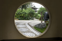 Chinese garden with gate Royalty Free Stock Images