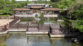 Chinese garden and lake in Lai Chi Kok Stock Photos