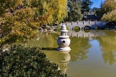 Chinese Garden Lake and Shrine stock photos