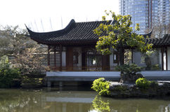 Chinese garden modern buildings Stock Photos