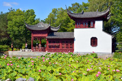 Chinese garden. MONTREAL CANADA AGUSTE 21 2015: Chinese garden of Montreal's botanical garden is considered to be one of the most important botanical gardens in Stock Images