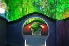 Chinese garden  at night. Chinese garden at night in Chengdu DuFu thatched cottage Royalty Free Stock Images