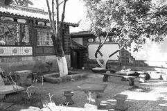 Chinese garden in the Old Town of Lijiang stock photography