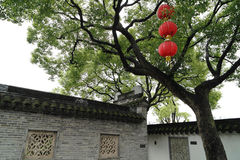 Chinese garden old wall and trees Stock Photography