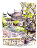 Chinese garden with pagoda in Suzhou, China. Watercolor Royalty Free Stock Photos