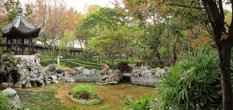 Chinese garden panorama Royalty Free Stock Photos