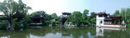Chinese Garden Panorama Stock Images