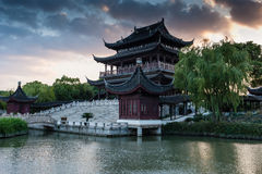 Chinese Garden. Panorama with dramatic sky Stock Images