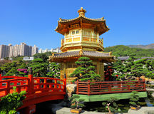 Chinese garden with pavilion Royalty Free Stock Images