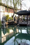 Chinese garden and pond stock image