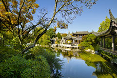 Chinese Garden by the Pond in Autumn Royalty Free Stock Photo