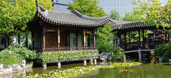 Chinese garden in portland oregon Royalty Free Stock Photos