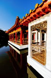 Chinese garden sheltered walkway Royalty Free Stock Photos