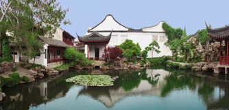 Chinese garden in Suzhou, near Shanghai. Classical `Master of the Nets` chinese garden in Suzhou constructed in the 12th century - UNESO World Heritage Site stock images