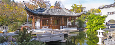 Chinese garden, tempel house panorama Stock Images