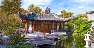 Chinese garden, temple house panorama Royalty Free Stock Images