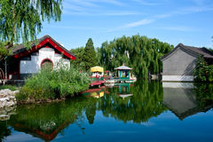 Chinese Garden - waterside pavilion Stock Image
