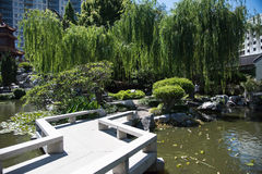 Chinese Garden: Zigzag Bridge Royalty Free Stock Photography