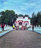 Chinese Garden, Singapore. Visitors strolling on a bridge in Chinese Garden in Singapore Stock Photos