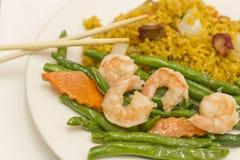 Chinese Garlic Shrimp String Beans Stock Photography