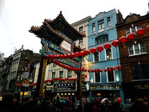 Chinese gate culture religious art building sky view people Royalty Free Stock Image
